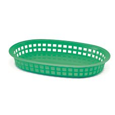 "TableCraft 1076G 10-1/2"" Green Chicago Platter Basket - Dozen"