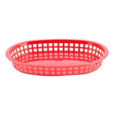 "Tablecraft 1076R 10-1/2"" Red Oval Chicago Platter Basket - Dozen"