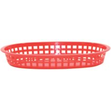 "TableCraft 1076R 10-1/2"" Red Oval Chicago Platter Basket"