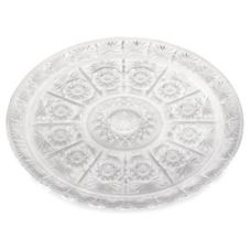 "Tablecraft 190C 16"" Clear Round Crystalware Tray - Dozen"