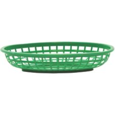 "Tablecraft Green Polyethylene 9-3/8"" x 6"" Oval Basket"