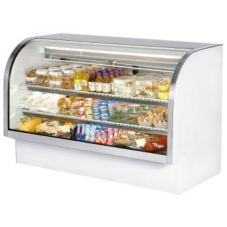True® White Curved Glass Refrigerated Deli Case, 37.1 Cubic Ft