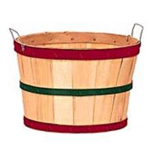 Texas Basket Co. 142 Natural Half Bushel Basket With Red / Green Hoops