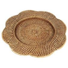 "Rattan Scalloped Charger, 13"" Dia"