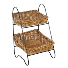 Eco Displayware MDC1775NRM Rattan 2 Tier Display Rack