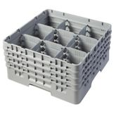 Cambro 9S800151 Camrack® Soft Gray 9 Compartment Full Glass Rack