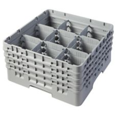 Cambro Camrack® Full Size 9 Compartment Glass Rack, Soft Gray