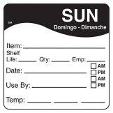 "DayMark 1100627 DissolveMark™ 2.5"" Sunday Day Square - 125 / RL"