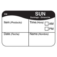 "DayMark 1100327 1 x 1.5"" Crosshair Sunday Day Label - 500 / PK"