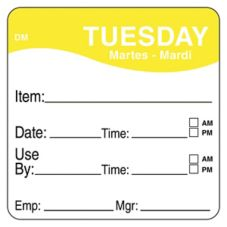 "DayMark 1100532 DissolveMark 2"" Tuesday Use By Day Square - 250 / RL"
