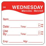 "DayMark 1100533 DissolveMark 2"" Wednesday Use By Day Square - 250 / RL"