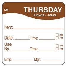 "DayMark 1100534 DissolveMark 2"" Thursday Use By Day Square - 250 / RL"