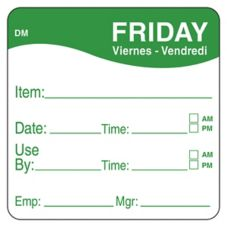 "DayMark 1100535 DissolveMark 2"" Friday Use By Day Square - 250 / RL"