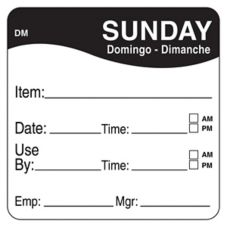 "DayMark 1100537 DissolveMark 2"" Sunday Use By Day Square - 250 / RL"