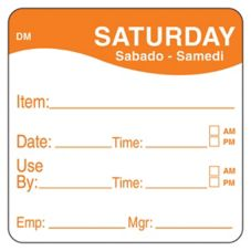 "DayMark 1100536 DissolveMark 2"" Saturday Use By Day Square - 250 / RL"
