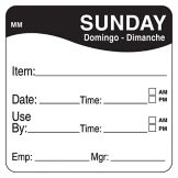 "DayMark 1100357 MoveMark 2"" Sunday Use By Day Square - 500 / RL"