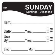 "DayMark 1100357 MoveMark 2"" Sunday Use By Day Square - 500 / RL"