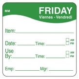 "DayMark 1100355 MoveMark 2"" Friday Use By Day Square - 500 / RL"