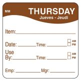 "DayMark 1100354 MoveMark 2"" Thursday Use By Day Square - 500 / RL"