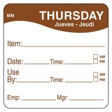 "DayMark 1100354 MoveMark 2"" Thursday Use By Day Square - 500 / RL"