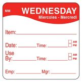 "DayMark 1100353 MoveMark 2"" Wednesday Use By Day Square - 500 / RL"