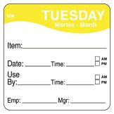 "DayMark 1100352 MoveMark 2"" Tuesday Use By Day Square - 500 / RL"