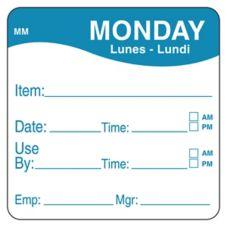 "DayMark 1100351 MoveMark 2"" Monday Use By Day Square - 500 / RL"