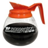 Bloomfield® Orange Handle Glass Decaf Decanter w/ Wasserstrom Logo