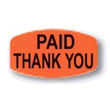 "Orange ""Paid Thank You"" Oval Label"