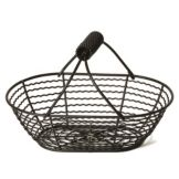 "Willow Specialties 823073.2 12"" x 8"" Oval Black Basket With Handle"