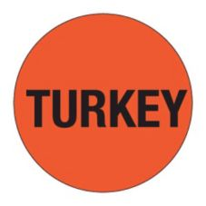 "DayDots 10401-04-11 1"" Red ""Turkey"" Cold Temp. Deli Label - 1000 / RL"