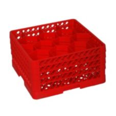 Traex® TR18JJJJ-02 Red 12 Compartment Glass Rack with 4 Extenders