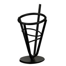 "American Metalcraft Black 7-1/4"" Tall Wrought Iron Fry Basket"