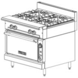 Vulcan Hart V4B36S V Series Gas Range with 4 Burners and Standard Oven
