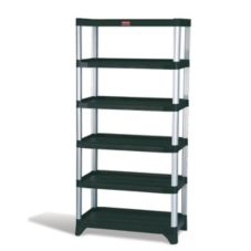 "Rubbermaid® FG9T4000BLA Black 6-Shelf 35 x 26"" Shelving Unit"