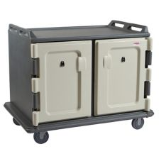 Cambro Light Gray Short 2-Door 2-Compartment Meal Delivery Cart