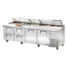 True® 2-Door 4-Drawer S/S Pizza Prep Table w/ White Alum. Interior