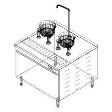 Cleveland Range 36-EM-K11-24 Electric Cabinet with (2) Oyster Kettles