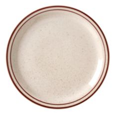 "Vertex® China Caravan Brown Speckled Double Band 9"" Plate"