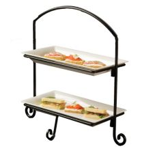 American Metalcraft IS11 Ironworks Black 2-Tier Iron Platter Stand