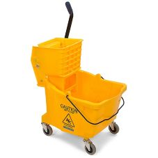 Carlisle 3690404 Flo-Pac 35 Qt. Yellow Bucket with Side Press Wringer