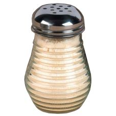 American Metalcraft Beehive Glass 6 Oz Cheese Shaker w/ Metal Lid