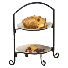 American Metalcraft Black Wrought Iron 2-Tier Stand w/ Curled Feet