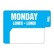"DayDots 10136-01-31 1"" x 3/4"" Trilingual Monday Blue Label - 1000 / RL"