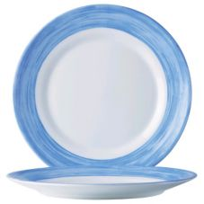 "Cardinal Arcoroc Brush Opal® 7-1/2"" Side Plate with Blue Rim"