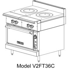Vulcan Hart V2FT36B Gas Range with Dual French Tops and Cabinet Base