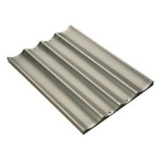 Focus Foodservice 904005 4-Mold Perforated Aluminum French Bread Pan