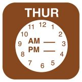 "DayMark ReMark™ ¾"" Thursday Day Label w/ Clock"