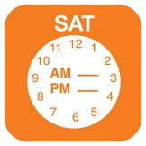 "DayMark 1145316 ReMark 3/4"" Saturday Day Label With Clock - 2000 / RL"