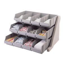 Cambro 12RS12480 Versa Speckled Gray 12-Bin Organizer Rack